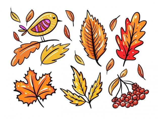 Осенние листья установлены.