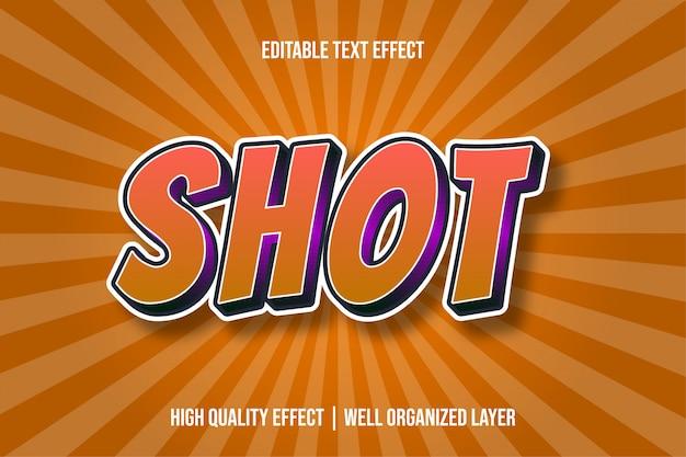 Выстрел оранжевого мультфильма стиль текста эффект