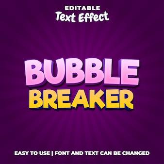 バブルブレーカーゲームのロゴの編集可能なテキスト効果スタイル