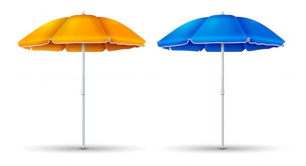 Пляж зонтика с голубым и оранжевым цветом установил изолированный. иллюстрация