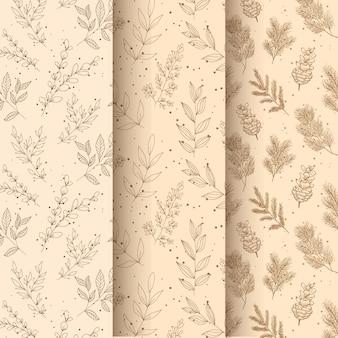 手描き花葉シームレスパターン
