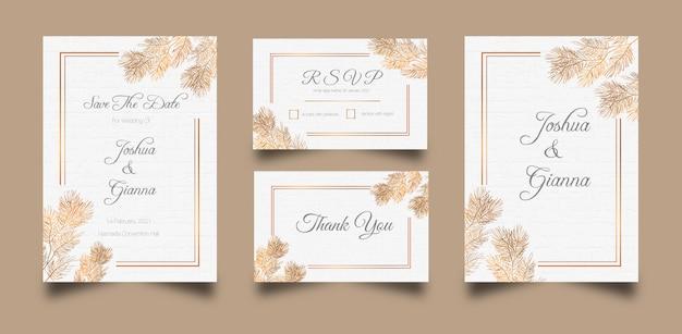 Красивый и элегантный шаблон свадебного приглашения