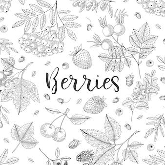 Иллюстрация взгляд сверху собрания ягод. здоровая пища. гравюра эскиз в винтажном стиле.