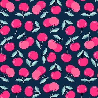 モダンな桜柄。暗い青色の背景にかわいい漫画チェリー。ピンクの明るいジューシーなベリー。テキスタイル、プリント、ウェブ用の手描きパターンデザイン。夏の果実。