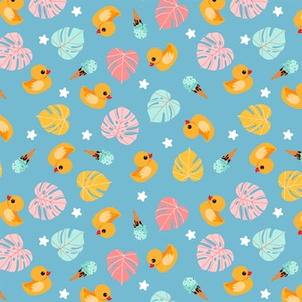 Смешная резиновая утка синий узор. ручной обращается модный летний дизайн рисунка. тропические листья монстера, банные утки и мороженое. тропический летний повторяемый дизайн для оберточной бумаги, баннеров, открыток.