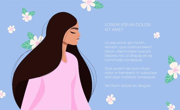 黒い髪の少女。女性の美の概念。ピンクのドレスで美しい女性の肖像画。花の背景。手描きのモダンなイラスト