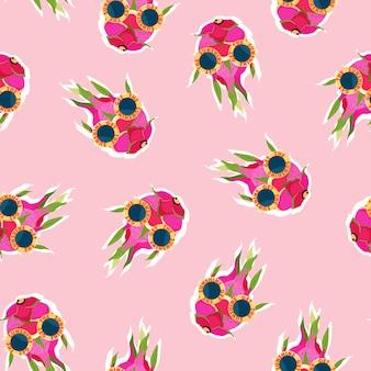 Модный дракон фруктовый розовый узор.