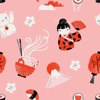 日本のアイコンのシームレスなパターン。