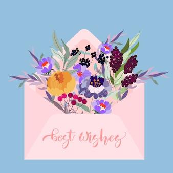 花でいっぱいのピンクの封筒。モダンなイラスト。青色の背景に手紙。