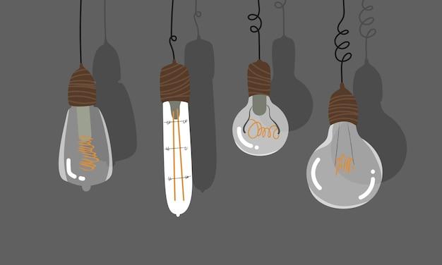 吊り下げ電球セット。ワイヤーにぶら下がっているトレンディな手描きの電球。古いスタイルのレトロな照明。透明なガラス球根カード、バナー。