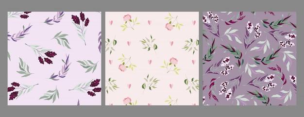 モダンなバイオレット、パープル、ベージュの枝と花のパターン。エレガントなフェミニンなオーナメントセット。果実と枝を葉します。ウェブ、テキスタイル、ファブリック、ステーショナリーの植物アレンジメント。シームレス