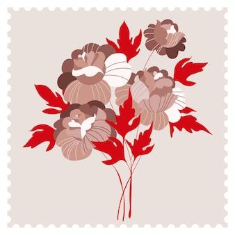 モダンなベージュの牡丹の花カード。ベージュの花と赤い葉。トレンディなグリーティングカード、ポストスタンプのスタイルで手描きの招待状。郵便切手。ヴィンテージレトロなポスター。