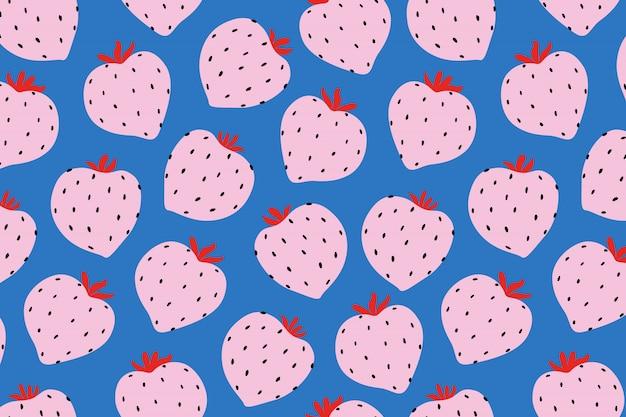 Современная клубника шаблон. большая круглая клубника на синем. большие ягоды.