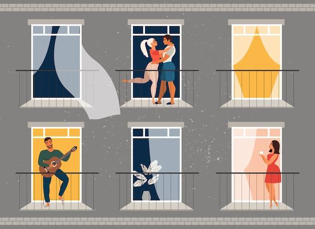バルコニーに立っている人。外の窓の人々。隔離と分離の概念。パンデミックの間に家にいる人々。ウイルス予防。家族と一緒に家にいる人。