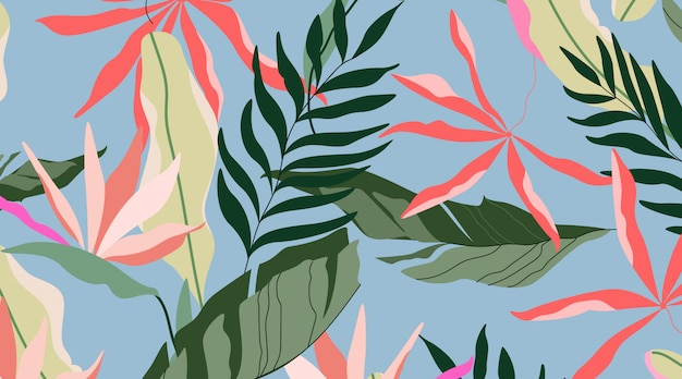 熱帯の島のパターン。青色の背景のシームレスなデザイン。ハワイのヤシの葉、バナナの葉、ストレチア花。