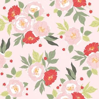 ピンクと赤の牡丹のシームレスなパターン。花柄ヴィンテージピンクのテキスタイルパターン。美しい手描きの植物パターン。ファブリックとウェブで再現可能なレトロガーデン。ピンクにやわらかいピンクの花柄。