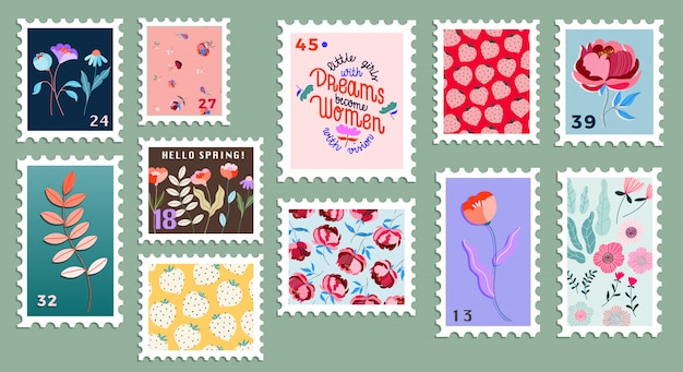美しい手描きの郵便切手のセットです。現代のさまざまな郵便切手。花の郵便切手。メールと郵便局の概念図。