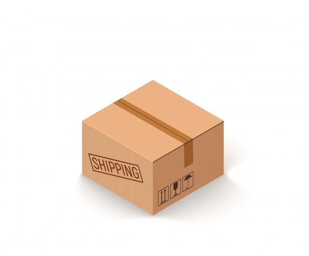 Закрытая посылка картонная коробка на белом изометрическом векторная иллюстрация