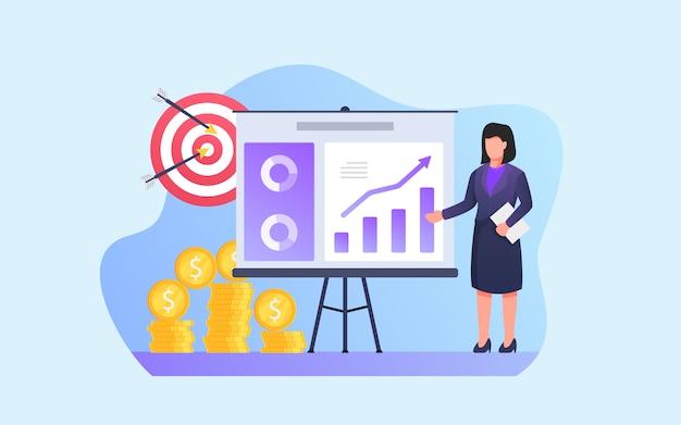 Бизнес-леди дает анализ представления с целью и финансовое резюме отчета на белой доске