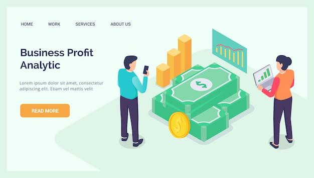 Анализ бизнес-прибыли для сайта, сайта, главной страницы шаблона баннера, изометрия