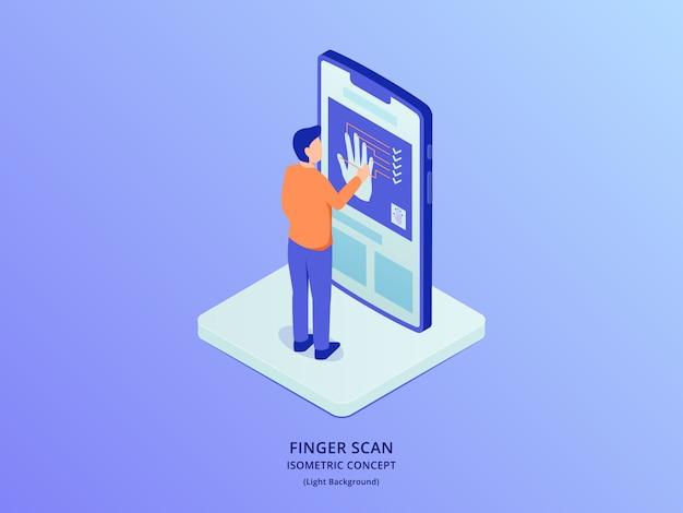 等尺性のスタイルを持つスマートフォンの前に立っている人と指紋認証バイオメトリックスキャナー