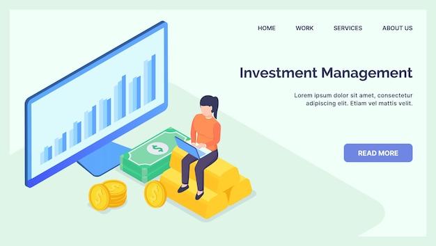 最新のウェブサイトテンプレートまたはランディングホームページの事業投資管理ビジネスコンセプト