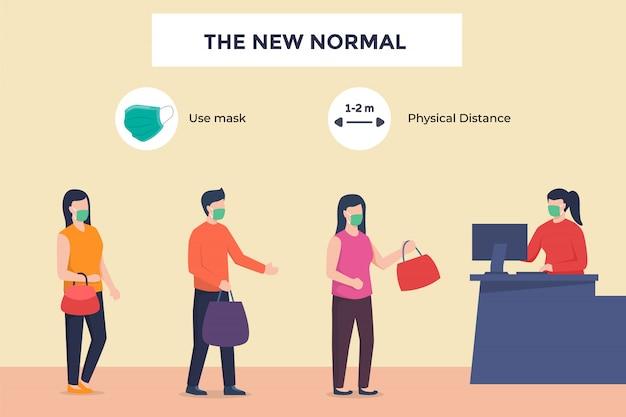 顧客訪問者のレジ係が店で支払いを購入し、コロナウイルスのパンデミックフラット漫画スタイルの後の新しい通常の時代にマスクを着用して物理的な距離を維持します