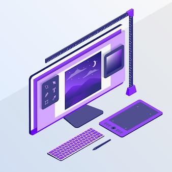 Концепция графического дизайна с компьютером и инструменты эскиза дизайна с изометрической плоской стиле