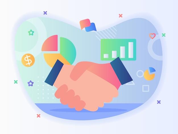 手を振る円グラフお金グラフバブルチャットアイコンの背景は、フラットスタイルのビジネスパートナーシップの概念を設定します。