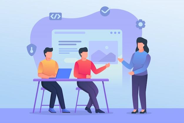 Обсуждение команды разработчиков и программистов и совместное обучение в офисе