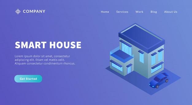 モダンな大きな家とウェブサイトテンプレートまたはランディングホームページのアイソメ図スタイルが付いている車のスマートハウスのコンセプト