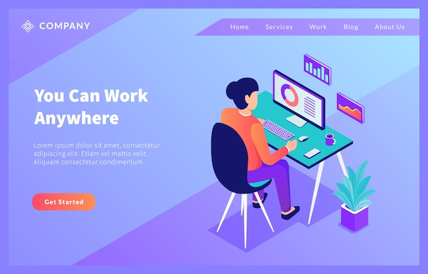 Работа в домашнем офисе из любого места для шаблона сайта или целевой страницы