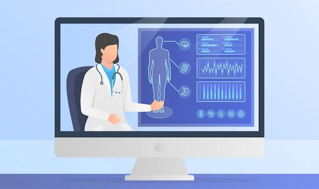 Онлайн-презентация доктора медицинских отчетов человеческого тела на экране монитора компьютера с современным плоским стилем