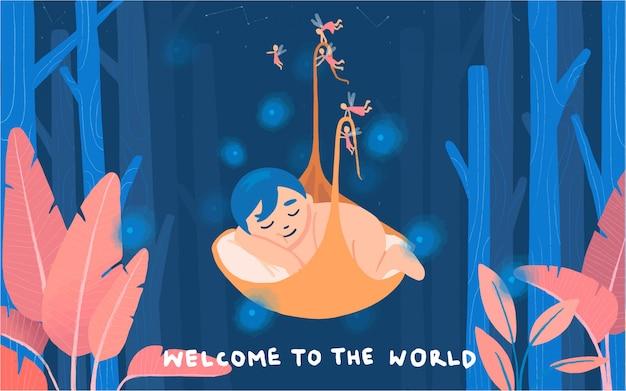 Ребенок новорожденный только что родился в мире иллюстрации