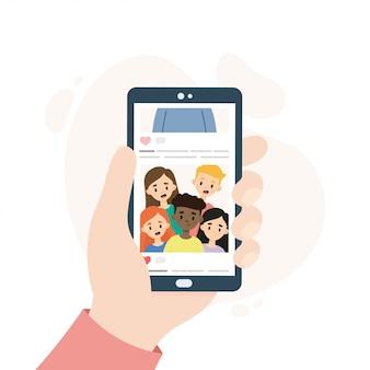 Смартфон с учетной записью в социальных сетях. лицо, прокручивающее аккаунт в социальных сетях. рука смартфон смартфон, показывая групповое фото.