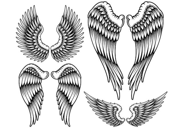 Набор крыльев векторные иллюстрации