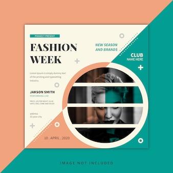 ファッションウィークのソーシャルメディアの投稿デザインテンプレート