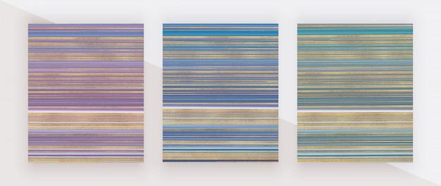 Фиолетовый, синий и зеленый с золотым абстрактным блеском жидкой акварельной структуры. картина тушью. модные фоны