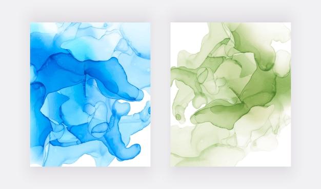 Алкоголь чернил текстуры. абстрактный синий и зеленый ручной росписью фон.