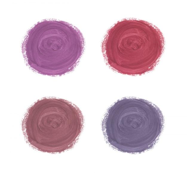 サークルブラシストローク水彩テクスチャ。ローズゴールド、赤、紫の水彩ウォッシュ。