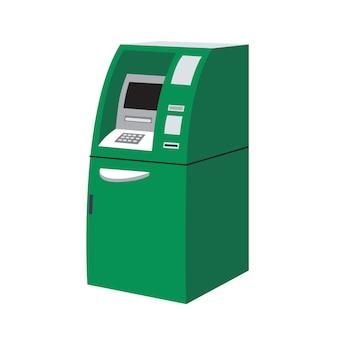 Современный зеленый банкомат или банкомат изолированные