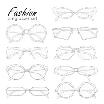 Модные солнцезащитные очки установлены. ручной обращается очки коллекции старинных, современных и футуристических