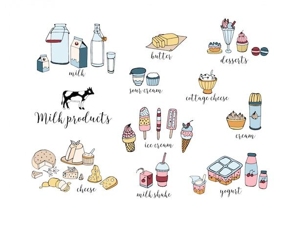 手描きの乳製品のセット。チーズ、ミルクセーキ、バター、ヨーグルト、カッテージチーズ、サワークリーム、デザート、牛。白地にカラフルなイラスト