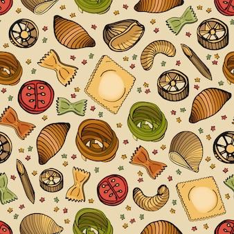 さまざまな種類のおいしい生パスタのパターン。