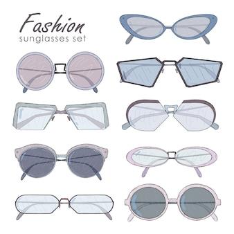 Модные очки установлены. нарисованная вручную коллекция солнцезащитных очков винтажная, современная и футуристическая