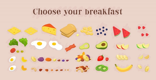 健康的な朝食用食品のアイコンのコレクション。フルーツとベリー、ナッツ