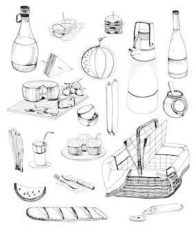手描きのピクニックアイテムセット。さまざまな食べ物、飲み物、バスケットのコレクション。等高線図。