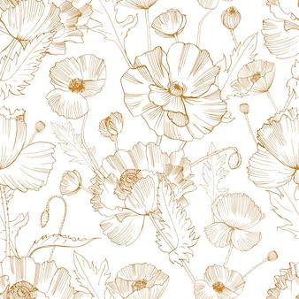 白い背景に黄色の輪郭線で描かれた豪華な咲く野生のケシの花の手で植物のシームレスなパターン。