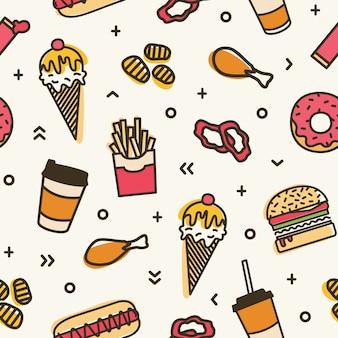 Современные бесшовные модели с фаст-фуд. красочный фон с различными блюдами - мороженое, гамбургер, пончик, картофель фри, хот-дог, жареная курица. иллюстрация для оберточной бумаги, текстильная печать