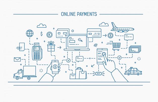 ラインアートの平らな輪郭図。オンライン支払い、送金、金融取引。